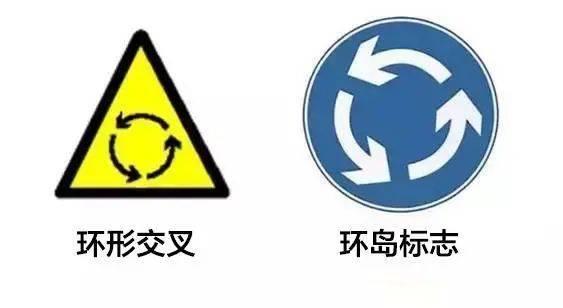 环形交叉VS环岛行驶的标志如何分辨