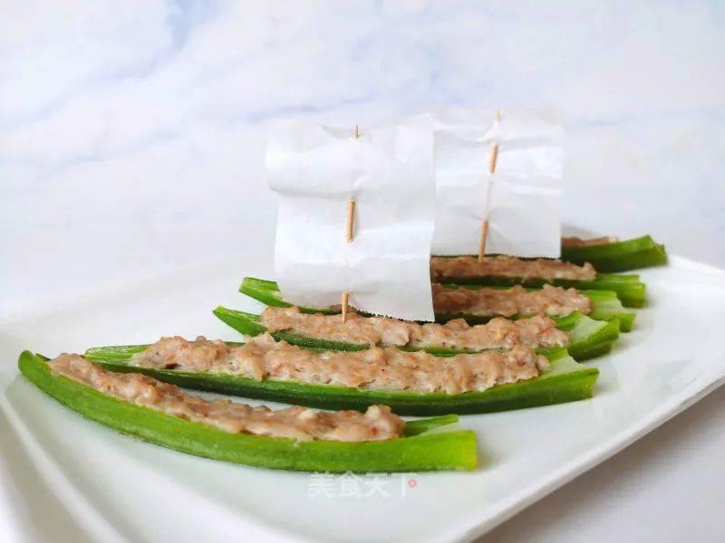 秋葵酿虾滑怎么做好吃法